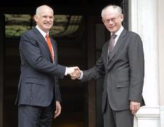 Με τον Γ. Παπανδρέου συναντήθηκε ο πρόεδρος της ΕΕ Βαν Ρομπέι.