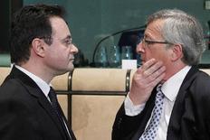 Ο πρόεδρος του Eurogroup Ζαν Κλοντ Γιούνκερ με τον υπουργό  Οικονομικών Γιώργο Παπακωνσταντίνου