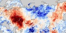 Στις κόκκινες περιοχές καταγράφονται θερμοκρασίες 13 βαθμούς υψηλότερες του κανονικού, ενώ στις μπλε περιοχές 13 βαθμούς χαμηλότερες (Πηγή: NASA).
