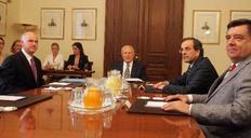 Στιγμιότυπο από την συνάντηση των πολιτικών αρχηγών με τον Πρόεδρο της Δημοκρατίας τον Μάιο του 2010.