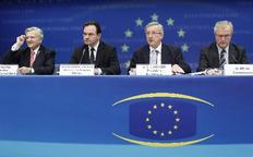 Στιγμιότυπο από παλιότερη συνέντευξη Τύπου των Ζαν-Κλοντ Τρισέ, Γιώργου Παπακωνσταντίνου,  Ζαν-Κλοντ Γιούνκερ και Όλι Ρεν μετά από συνάντηση του Eurogroup.